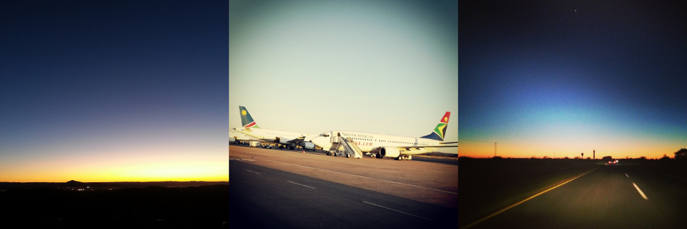 Namibia at dusk; Hosea Kutako airport; Namibia at dawn